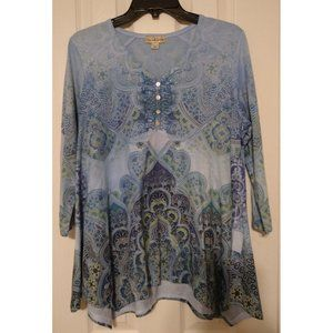 Live and Let Live Women's Large Boho Top Tunic